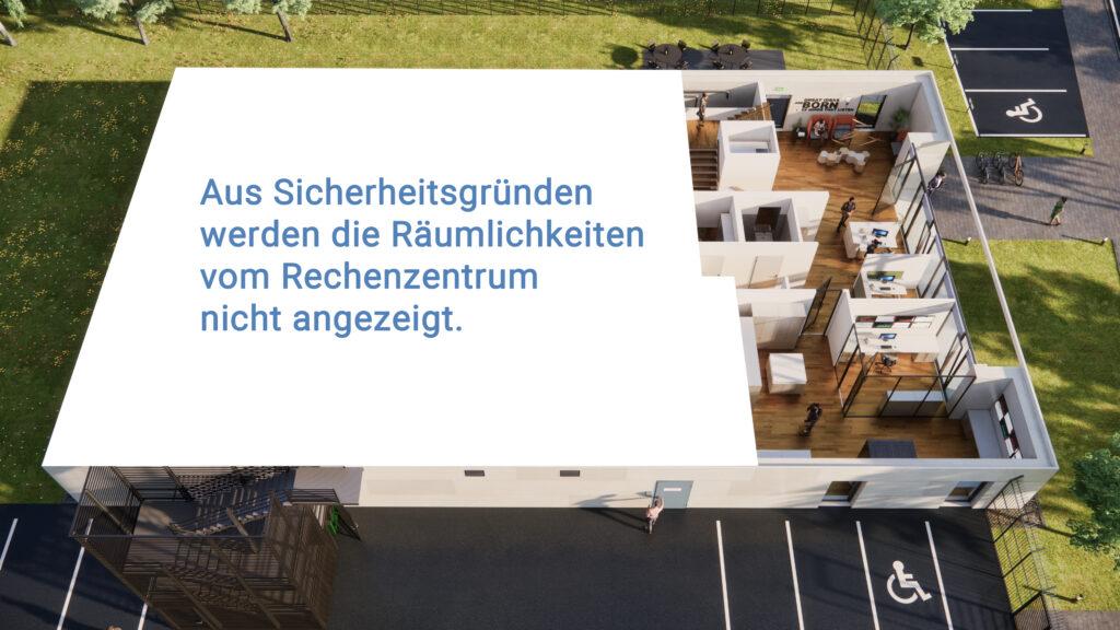 Sonextis Gebäude Erdgeschoss: Aus Sicherheitsgründen werden die Räumlichkeiten vom Rechenzentrum nicht angezeigt.